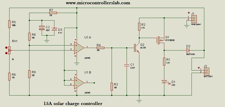 15 ampere solar charge controller without microcontroller rh microcontrollerslab com solar panel battery charger wiring diagram solar panel battery charger wiring diagram