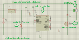 Circuit diagram of speed control of DC motor using PIC microcontroller