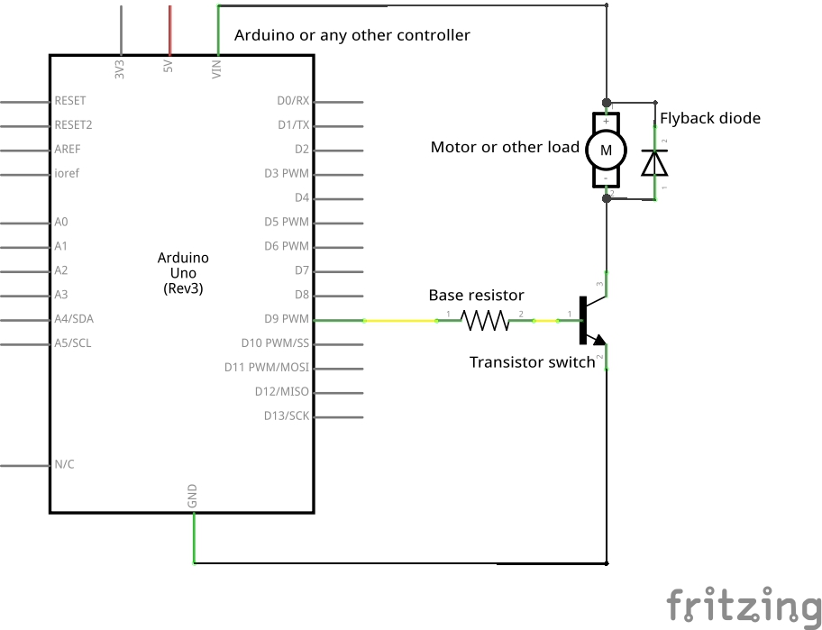 Transistor as a swith interfacing with Arduino