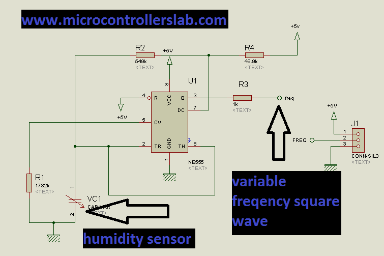 humidity sensor circuit with external circuitry