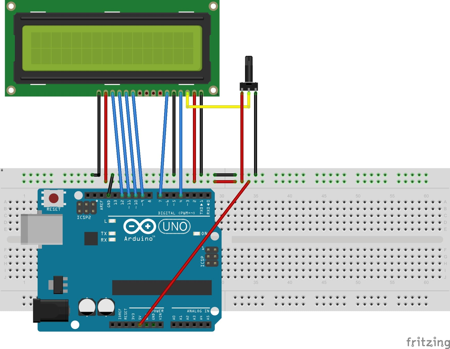 16x2 LCD Interfacing with Arduino connection diagram