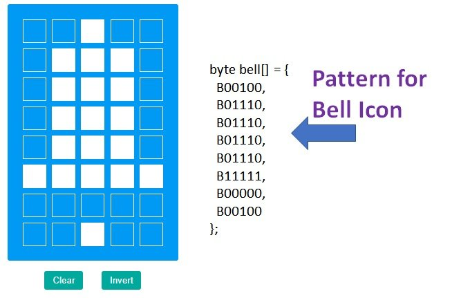 Custom pattern for Bell Icon LCD with Arduino