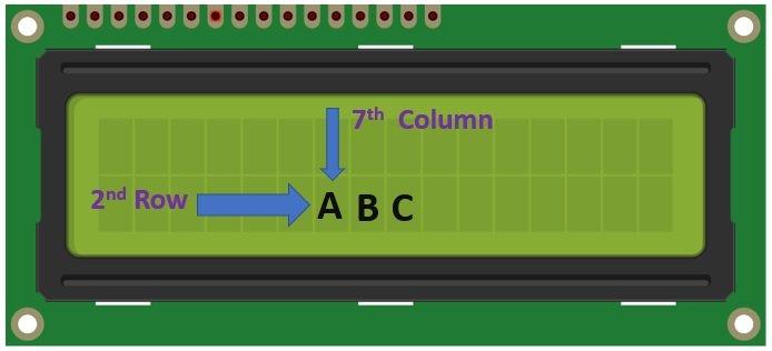 LCD cursor position control example arduino