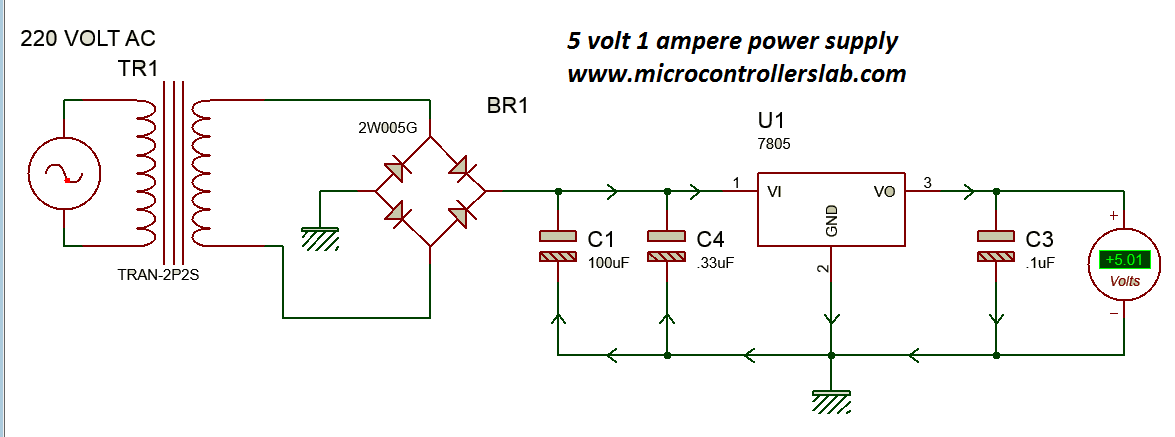 Circuit diagram of 5 volt and 1 Ampere power supply