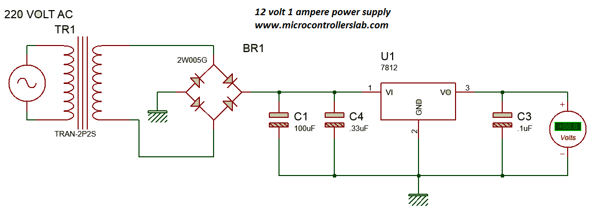Power supply for electronics projects circuit diagram of 12 volt and 1 ampere power supply publicscrutiny Images