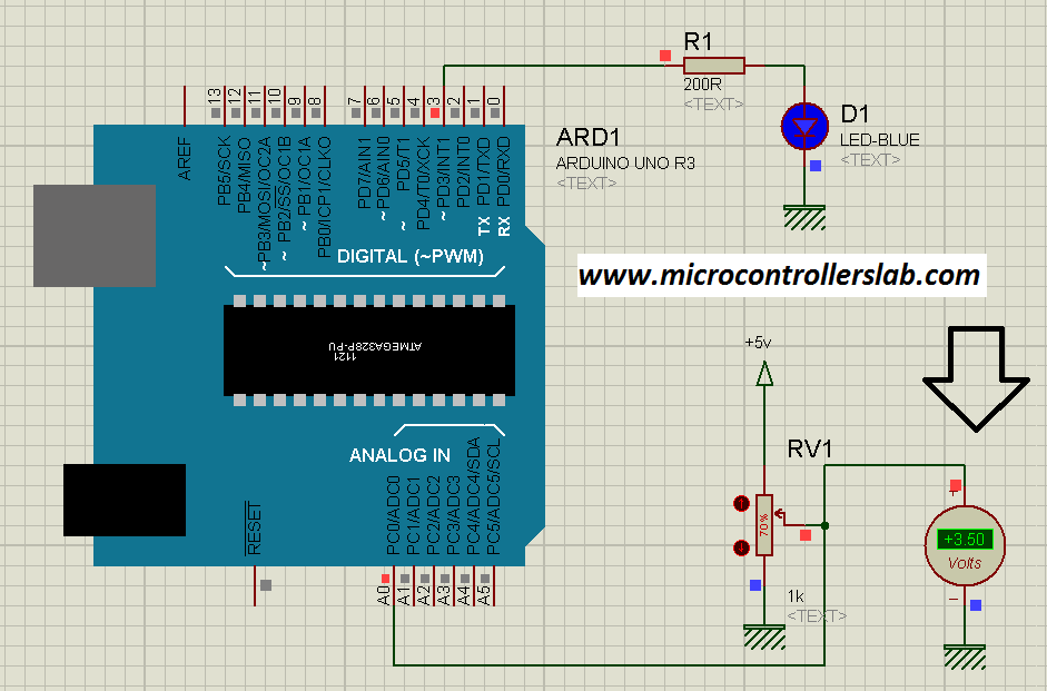 Analog voltage reading using arduino uno r