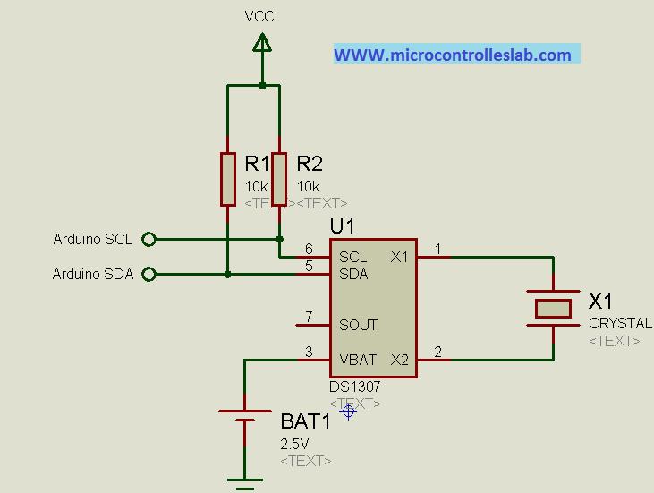 real time clock DS1307 circuit diagram