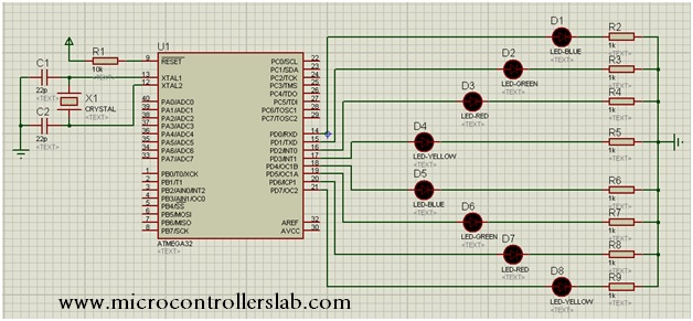 circuit diagram of led blinking tutorial