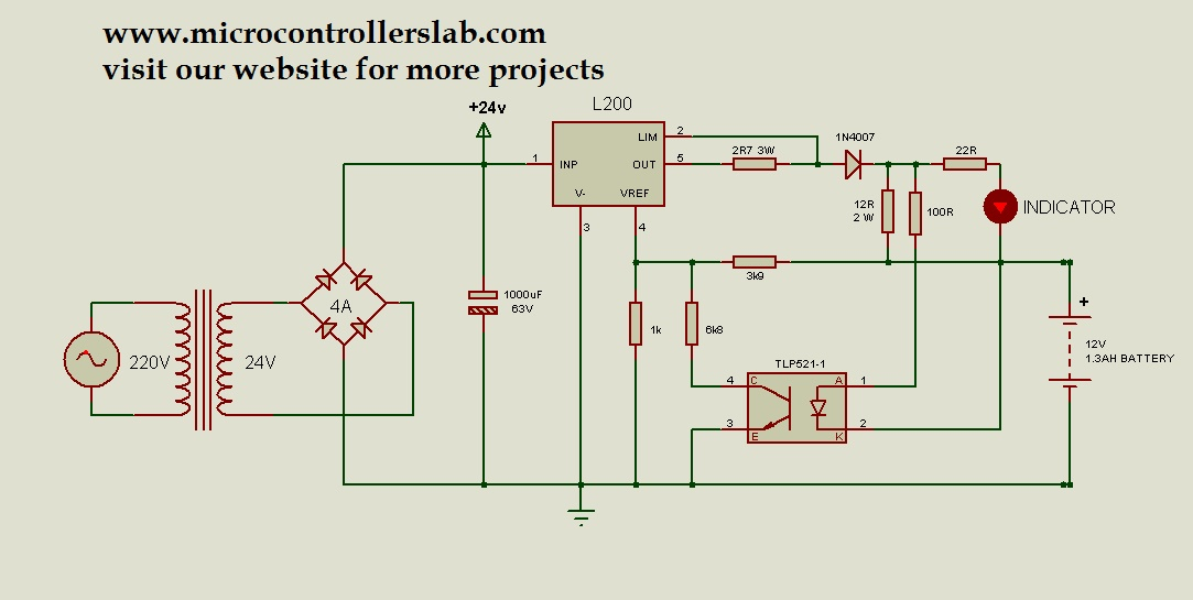 12 volt 1.3AH battery charger circuit diagram | Battery Charger Transformer Wiring Diagram |  | Microcontrollers Lab