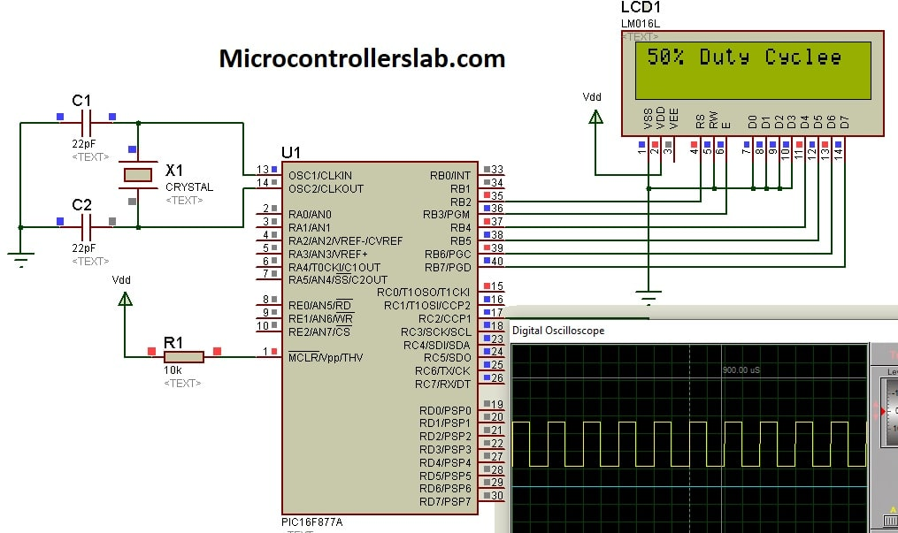 Generate fixed duty cycle PWM using pic microcontroller PIC16F877A
