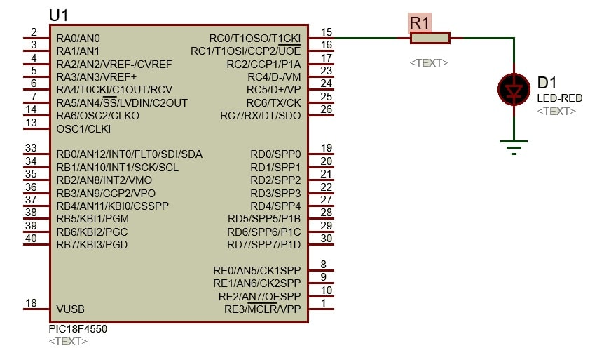 LED Interfacing with PIC Microcontroller PIC18F4550