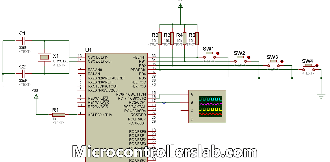 Variable duty cycle PWM using pic microcontroller