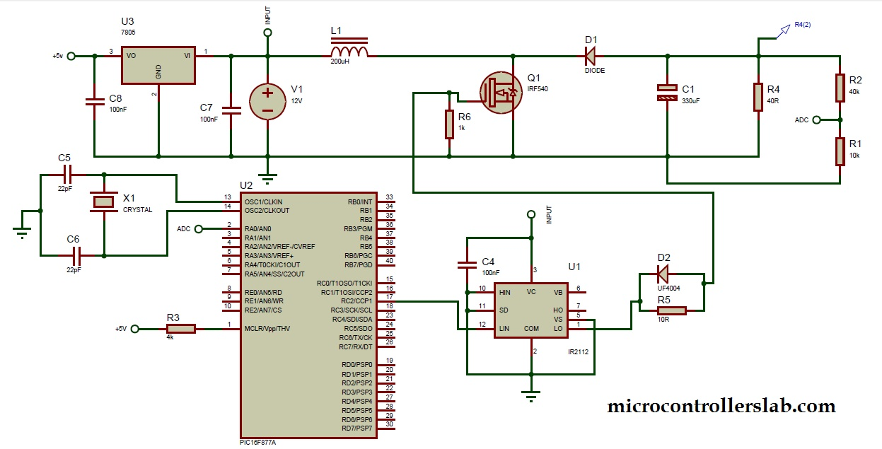 Boost Converter Using Ir2110 And Pic Microcontroller Electronic Circuits Diagrams Free Design Projects Schematics Circuit Diagram Of Dc To