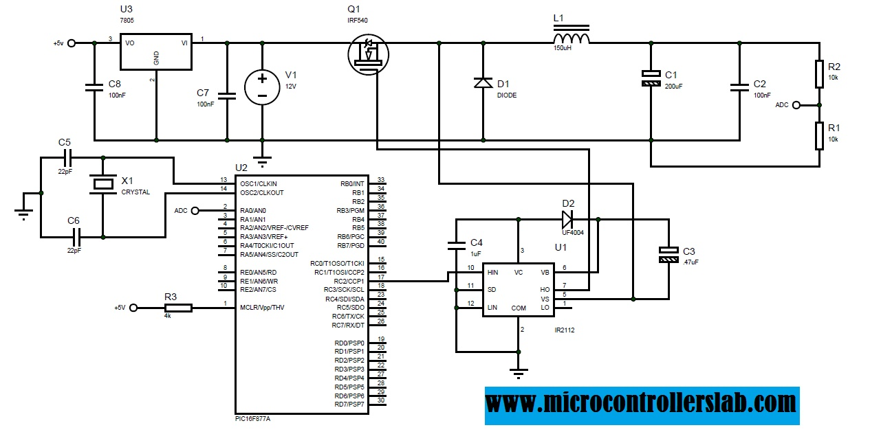 Dc Ac Power Inverter Schematic Diagram Wiring Diagrams To Sine Wave Circuit Buck Converter Using Pic Microcontroller And Ir2110 Pdf