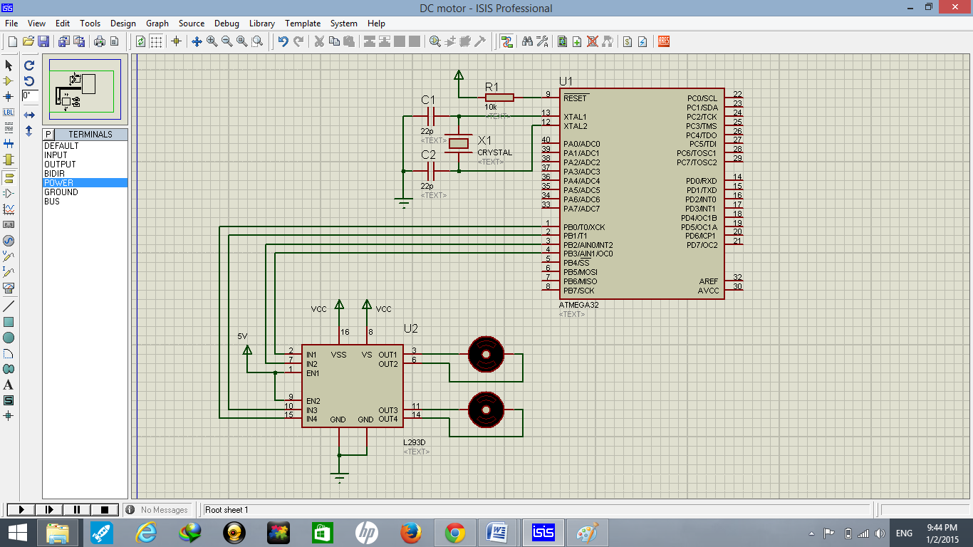 Dc Motor Interfacing With Atmega32 And L293 Arduino Led Circuit Simulation Using Atmel Studio Proteus Speed Control Diagram