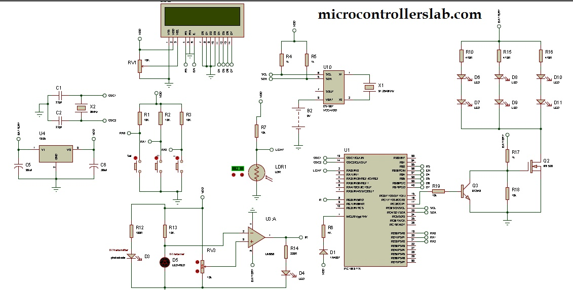 Auto intensity control of street lights using microcontroller circuit diagram of auto intensity control of street lights using pic microcontroller ccuart Gallery