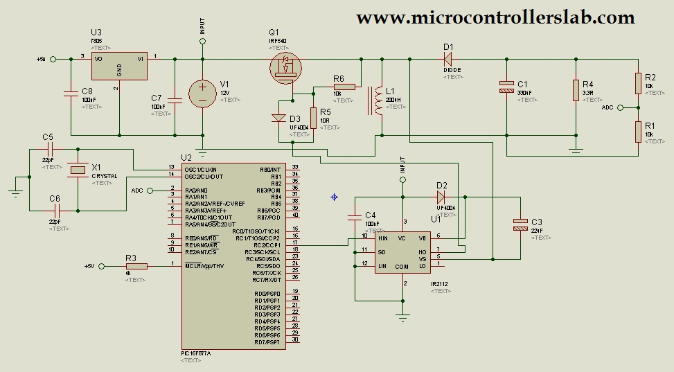 buck boost converter with pic microcontroller and ir2110Buck Boost Converter Electronic Circuits Projects #10