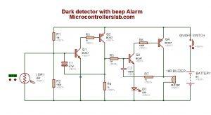 Dark detection circuit diagram with Alarm