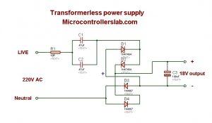 Transfromer less power supply