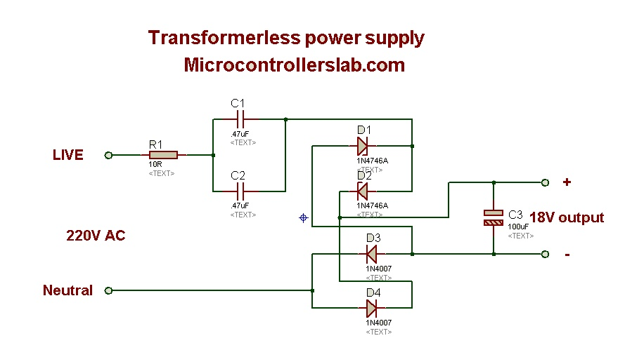 Transfromer less power supply