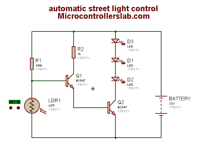 automatic street light control circuit diagram rh microcontrollerslab com street glide tail light wiring diagram street light photocell wiring diagram