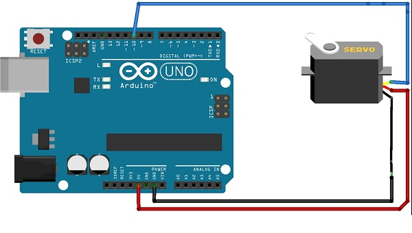 circuit servo motor control and interfacing wiht arduino Arduino Uno Servo Wiring Diagrams at virtualis.co