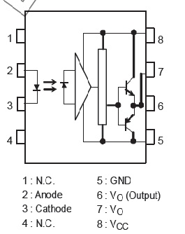 pin configuation of isolated MOSFET driver TLP250