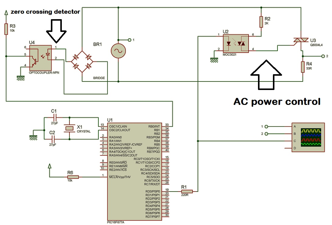 Ac Power Control With Thyristor Using Pic Microcontroller Temperature Detector Controller Circuit Electronic Projects