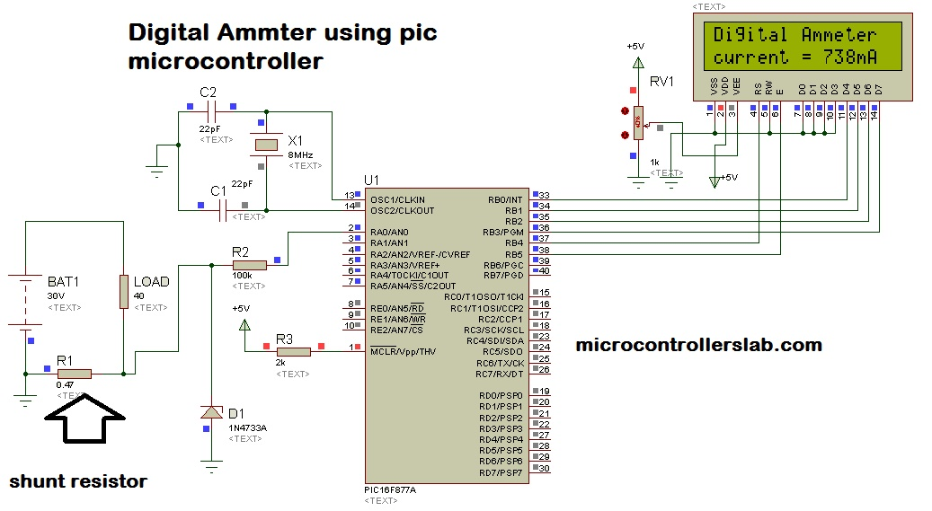 Digital ammeter circuit and project using pic microcontroller digital ammeter using pic microcontroller ccuart Gallery