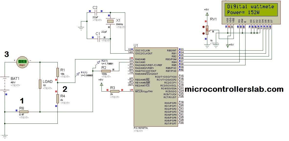 Digital Dc watt meter using pic microcontroller digital dc watt meter circuit & project using pic microcontroller watt meter wiring diagram at crackthecode.co
