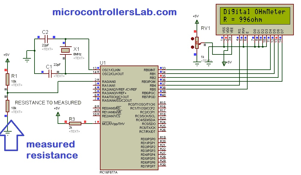 digital ohmmeter circuit and project using pic microcontroller rh microcontrollerslab com analog ohmmeter circuit diagram micro ohmmeter circuit diagram