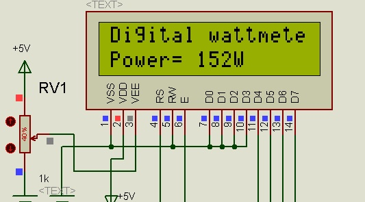 digital dc watt meter circuit project using pic microcontroller
