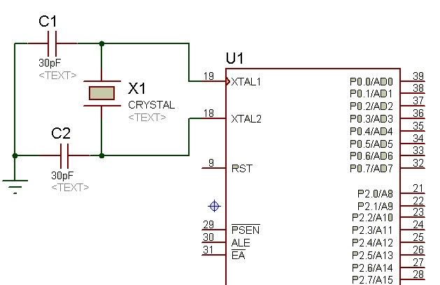 crystal oscillator with 8051 microcontroller