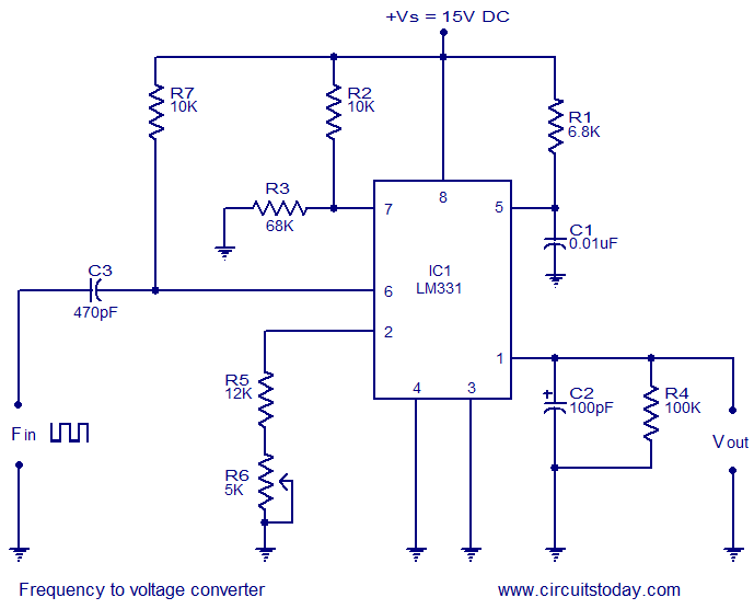 FREQUENCY TO VOLTAGE CONVERTER CIRCUIT diagramMicrocontrollers Lab