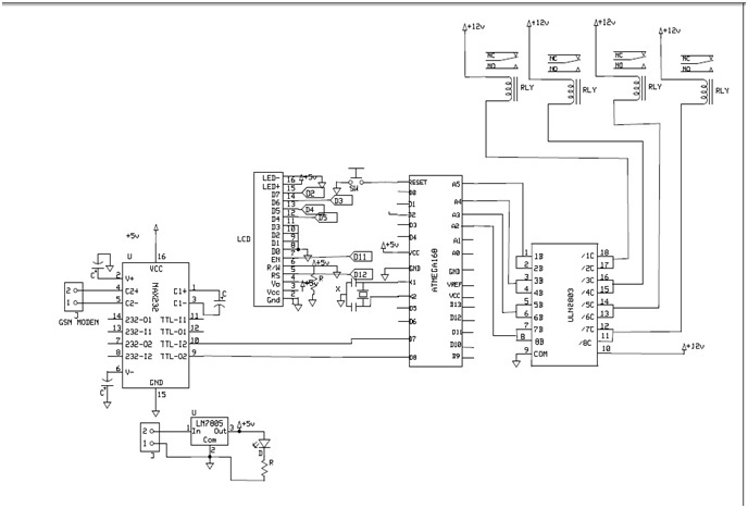 circuit diagram of sms based enotice board