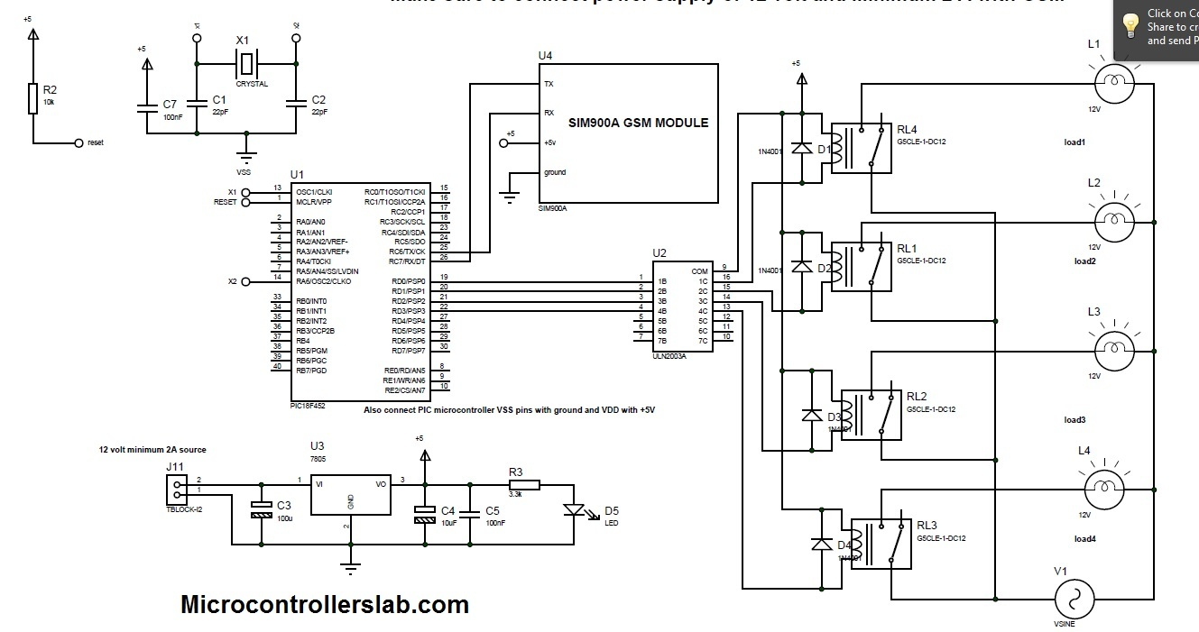 Circuit Diagram Gsm Mobile Signal Total Quality Management Ppt Arduino Page 8 Microcontroller Circuits Nextgr Home Devices Control System Using And Automation Pic Based