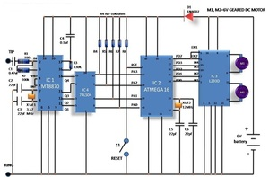 circuit diagram of Wireless controlled robot