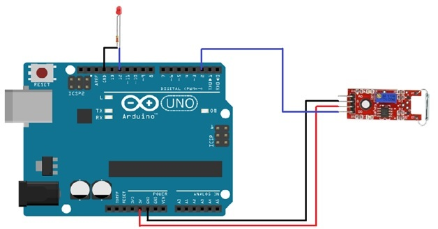 Reed switch interfacing with arduino magnetic field detection