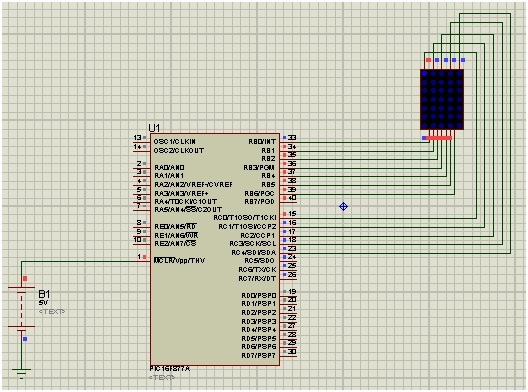 led matrix interfacing with pic microcontroller
