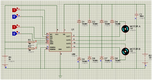 Circuit diagram of L298N motor driver l298n motor driver circuit code how to use microcontrollers lab l298n wiring diagram at honlapkeszites.co