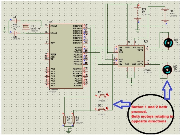 dc motor interfacing with 8051 microcontroller proteus simualtion