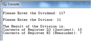 Division of numbers in MIPS
