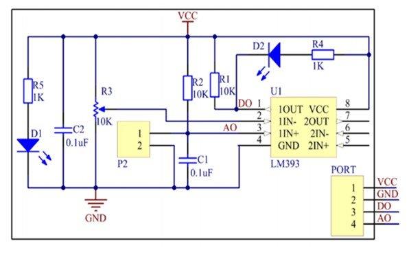 Rain Drop Sensor Module circuit diagram