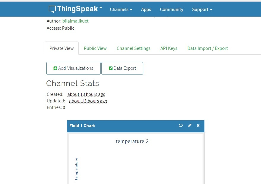 ThingSpeak server new channel temperature 2