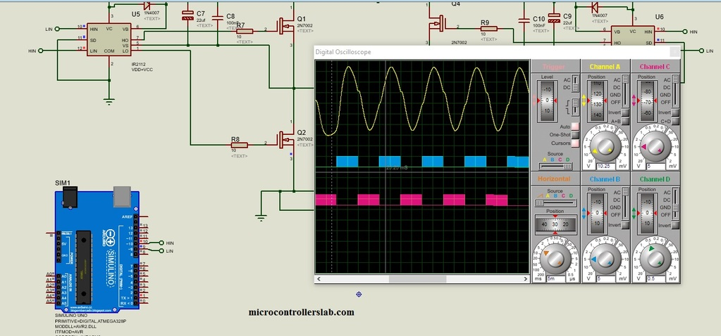 single phase sine wave inverter using arduino
