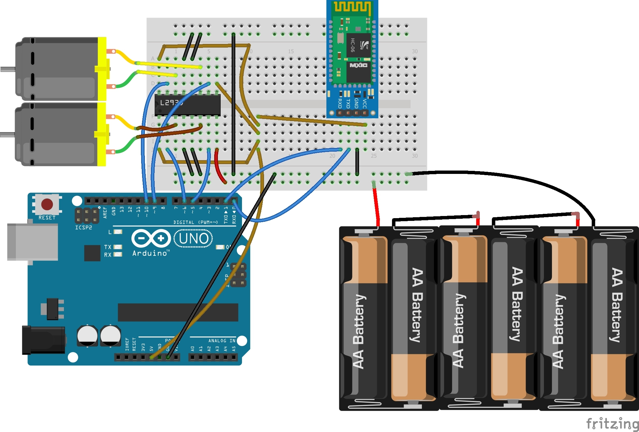 Bluetooth Based Dc Motor Speed And Direction Control Using Arduino Circuit Diagram Of Device Controlling Motors Hardware