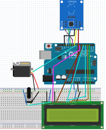 Door Security System Using RFID RC522 and Arduino circuit diagram