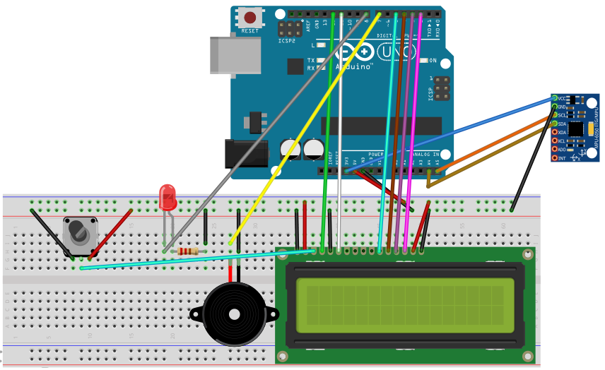 Earthquake Detector using Arduino circuit diagram