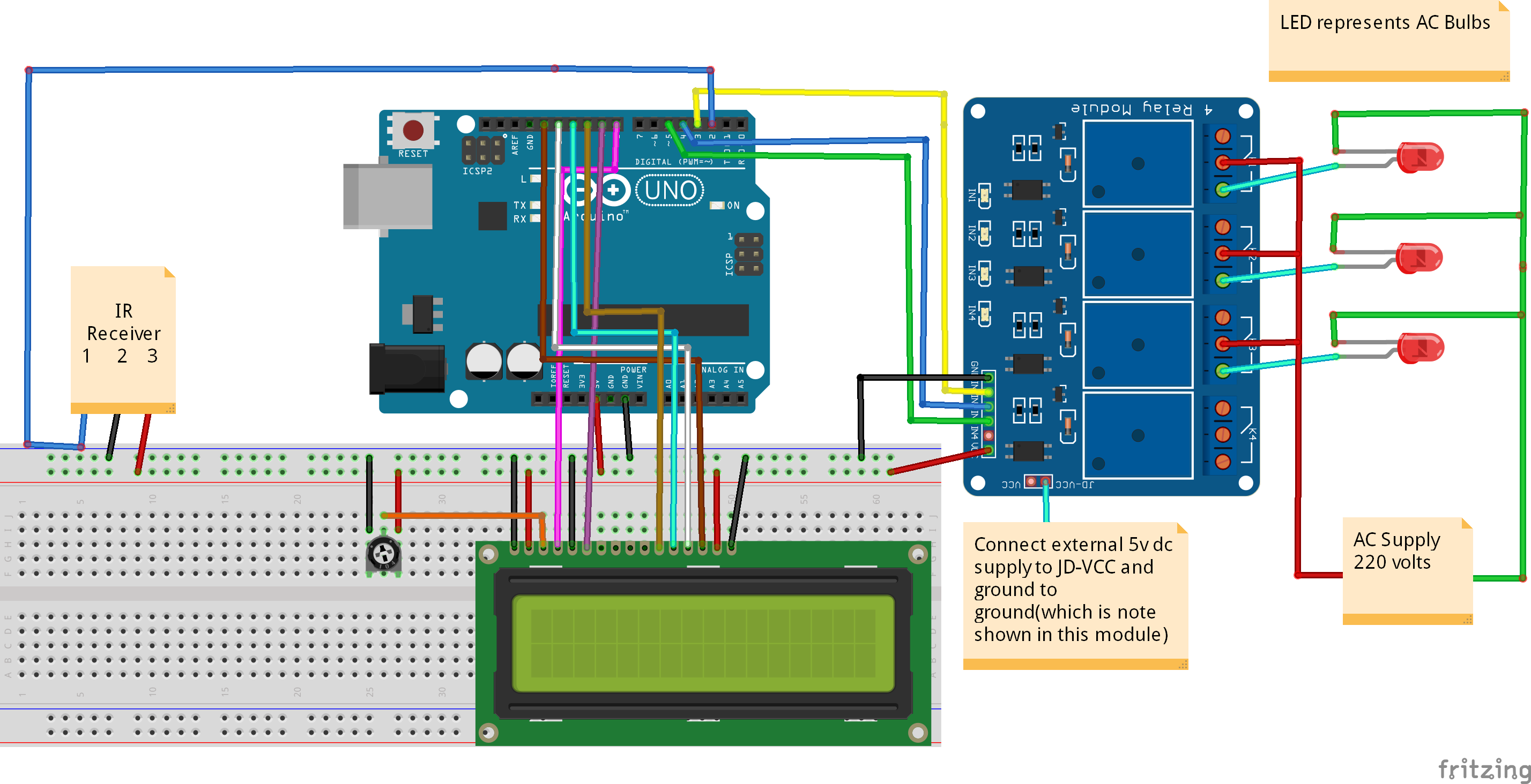 Ir Remote Control Switch Circuit Free Wiring Diagram For You Controlled Home Automation System Using Arduino Simple Circuits Light