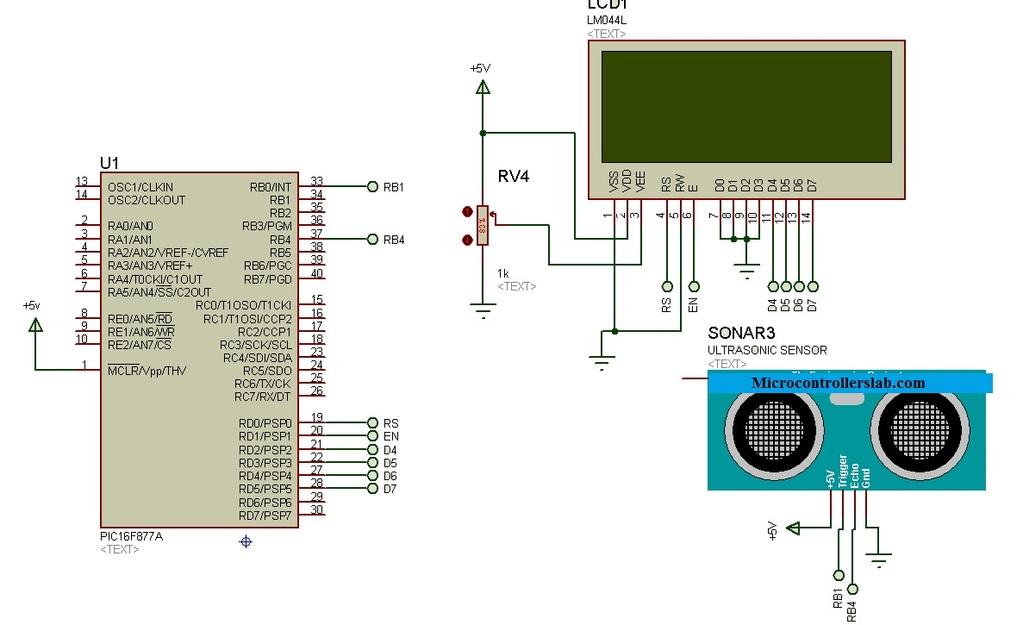 Ultrasonic sensor HC-SR04 interfacing with pic microcontroller